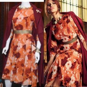 Eva Mendez Orange Floral Faye Midi Dress